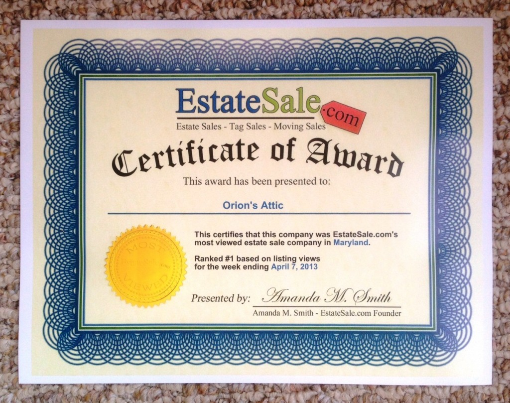 OA receives most viewed estate sale company in Maryland award
